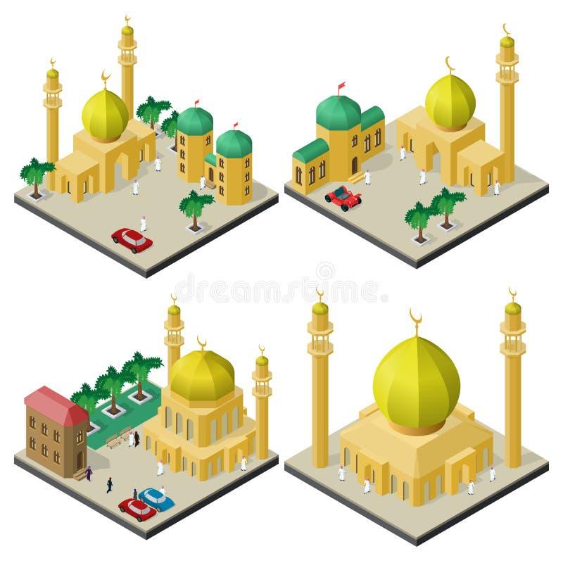 Metta dei paesaggi urbani isometrici con le costruzioni culturali musulmane illustrazione vettoriale