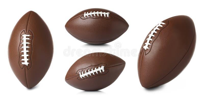 Metta dei palloni da calcio americani di cuoio su fondo bianco fotografia stock