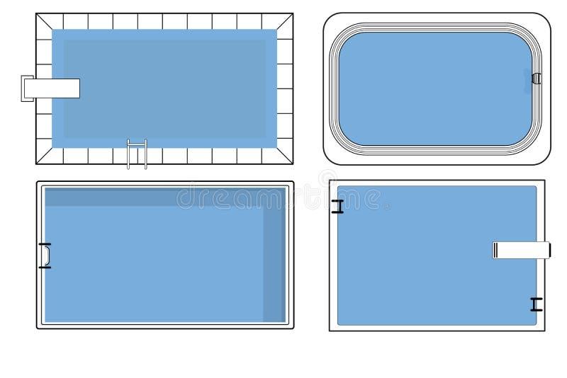 Metta dei piani della piscina nella vista superiore illustrazione vettoriale
