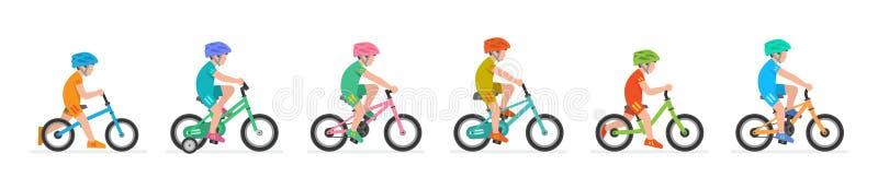Metta dei ragazzi che guidano la bici illustrazione di stock