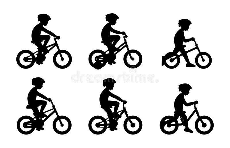 Metta dei ragazzi che guidano la bici illustrazione vettoriale