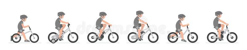 Metta dei ragazzi che guidano la bici royalty illustrazione gratis