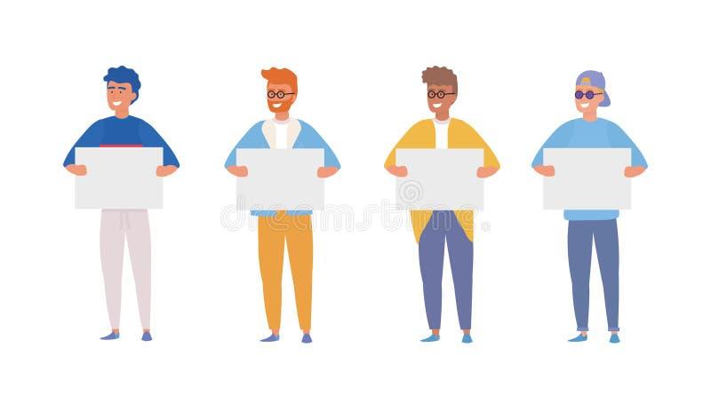 Metta dei ragazzi con l'abbigliamento casual ed il manifesto illustrazione vettoriale