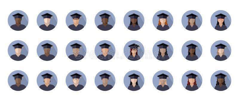 Metta dei ragazzi e delle ragazze degli studenti in un cappuccio laureato delle corse, delle nazionalità e dei colori della pelle illustrazione vettoriale