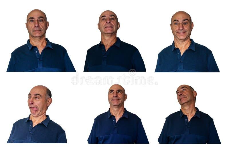 Metta dei ritratti dell'uomo più anziano con differenti espressioni facciali fotografia stock libera da diritti