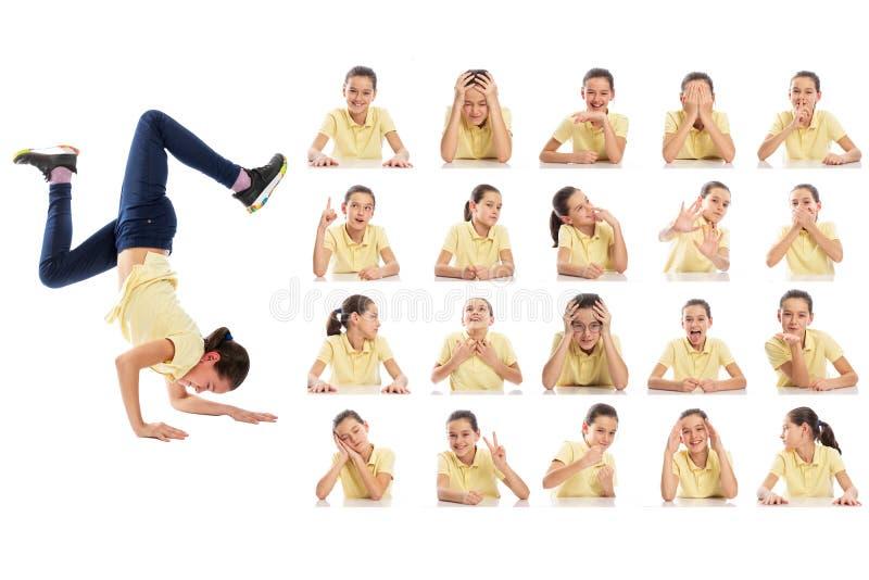 Metta dei ritratti emozionali di un adolescente Collage degli smorfie differenti Isolato su una priorit? bassa bianca fotografie stock libere da diritti