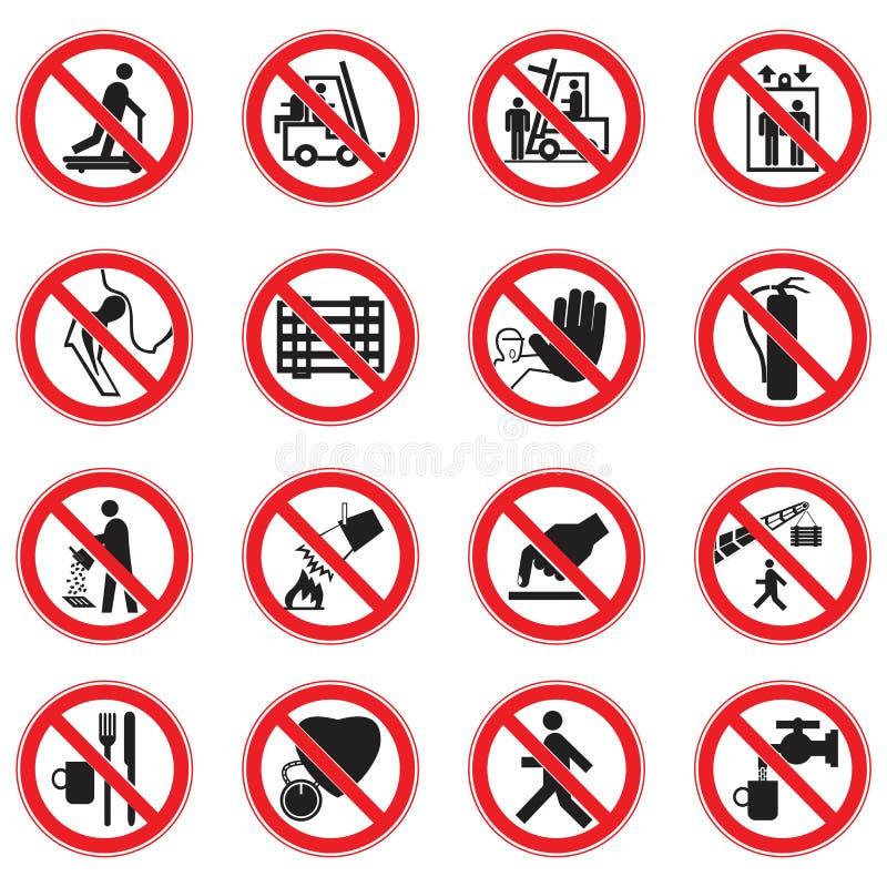 Metta dei segni standard di proibizione del cerchio rosso illustrazione di stock