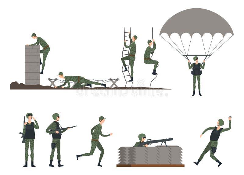 Metta dei soldati isolati che fanno gli esercizi militare illustrazione di stock