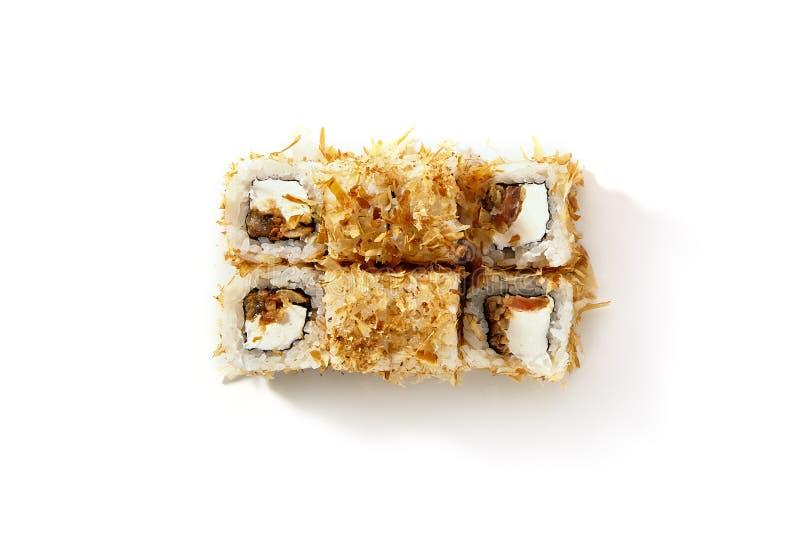 Metta dei sushi di Uramaki con Salmon Teriyaki Top View immagine stock libera da diritti