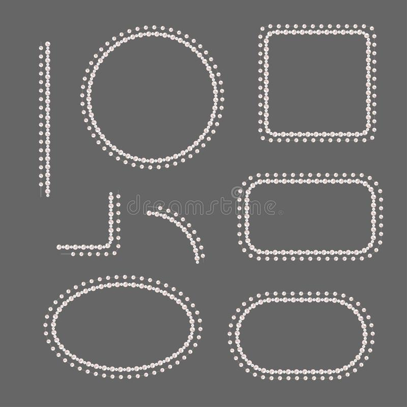 Metta dei telai della perla isolati su fondo grigio Confini ed angoli di vettore Perle della crema illustrazione vettoriale