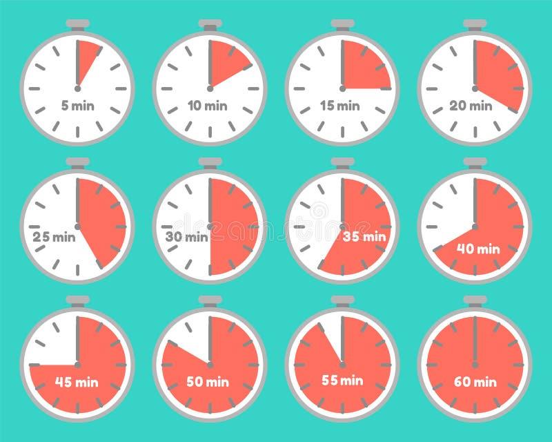Metta dei temporizzatori con gli intervalli di tempo royalty illustrazione gratis
