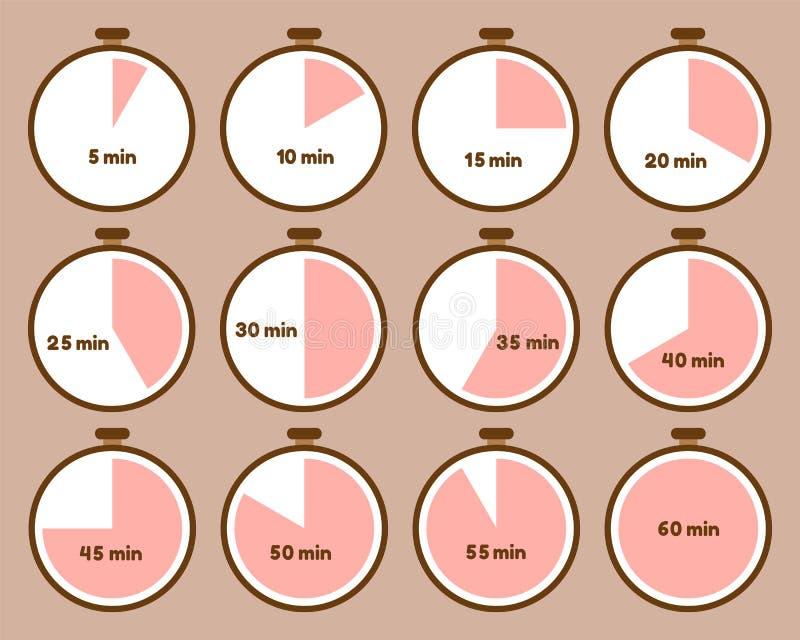 Metta dei temporizzatori con gli intervalli di tempo illustrazione di stock