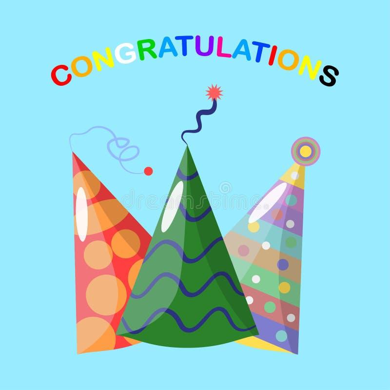 Metta del cappello della festa di compleanno isolato su fondo blu Cappuccio festivo di carnevale per la festa di celebrazione Buo illustrazione di stock