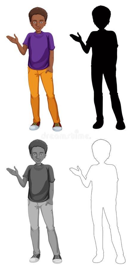 Metta del carattere africano dell'uomo illustrazione di stock