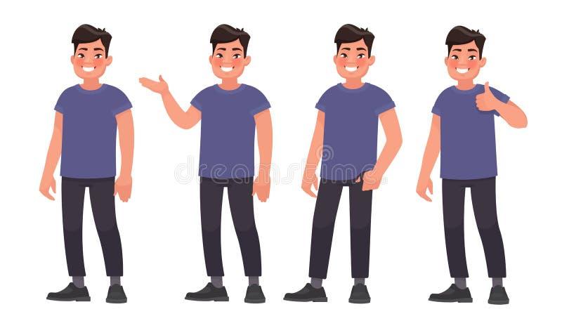 Metta del carattere che un uomo asiatico bello nell'abbigliamento casual dentro differen royalty illustrazione gratis