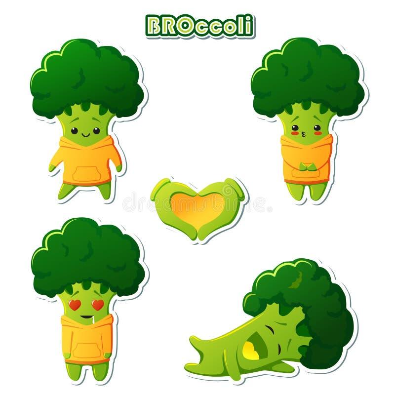 Metta del carattere dei broccoli di kawaii degli autoadesivi Broccoli svegli in maglie con cappuccio gialle illustrazione vettoriale