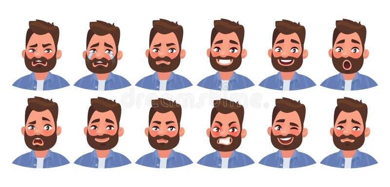 Metta del carattere maschio di emozioni differenti Emoji bello dell'uomo con le varie espressioni facciali illustrazione di stock