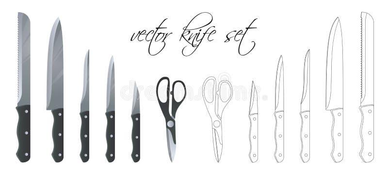 Metta del coltello da cucina, delle forbici e della taglierina Insieme lineare Illustrazione di vettore Colore evolutivo e editab illustrazione vettoriale