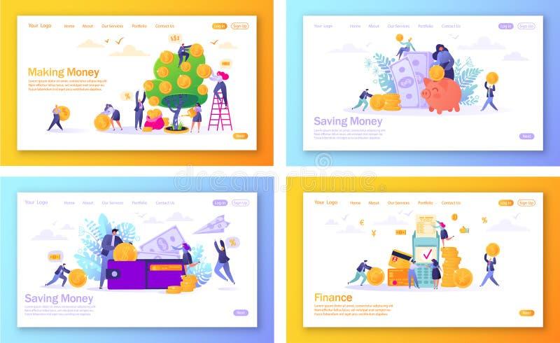 Metta del concetto delle pagine d'atterraggio sul tema di finanza royalty illustrazione gratis