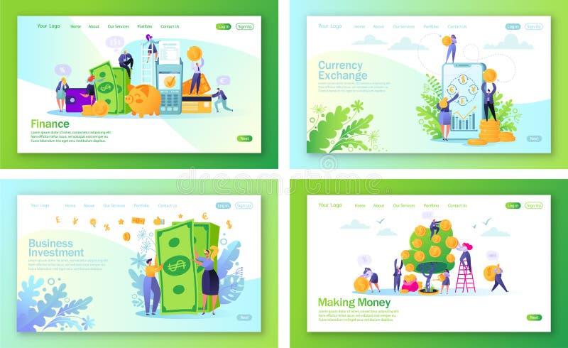 Metta del concetto delle pagine d'atterraggio sul tema di finanza illustrazione vettoriale