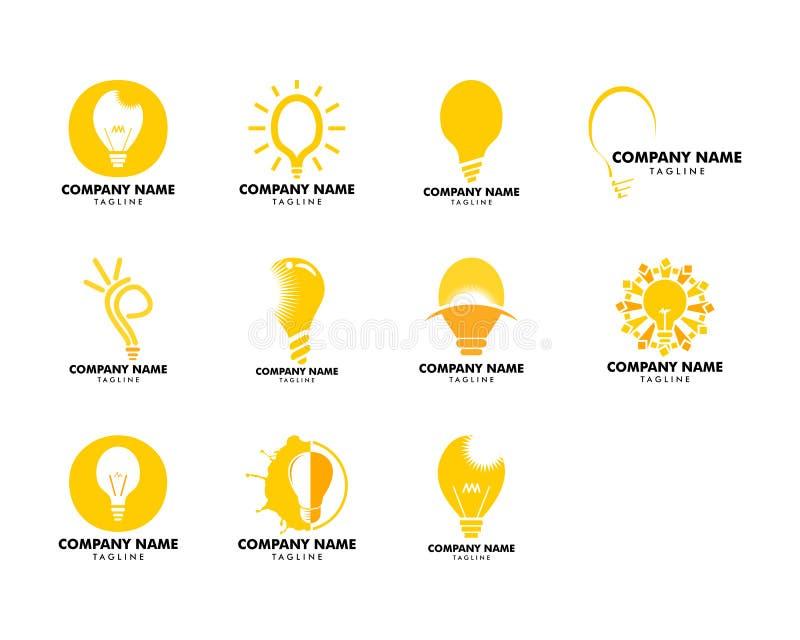 Metta del concetto di logo dell'illustrazione di vettore di idea della lampadina illustrazione di stock