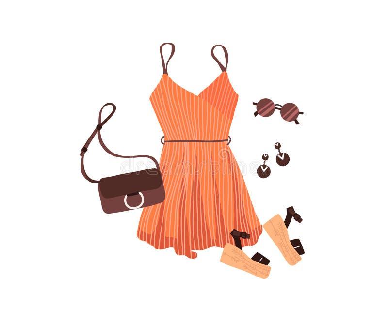 Metta del creatore dell'attrezzatura con le scarpe di vestito dall'abbigliamento delle donne di modo dell'estate illustrazione di stock