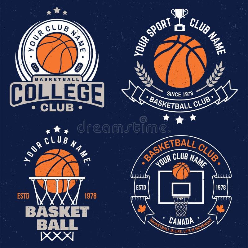 Metta del distintivo del club di pallacanestro Vettore Progettazione grafica per la maglietta, il T, la stampa o l'abito Progetta illustrazione di stock