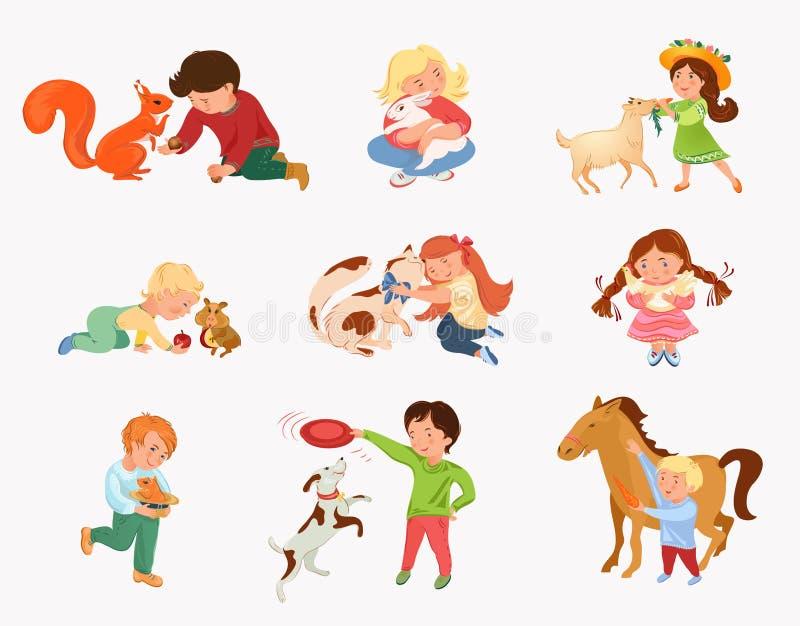 Metta del gioco di bambini sveglio con differenti animali domestici royalty illustrazione gratis