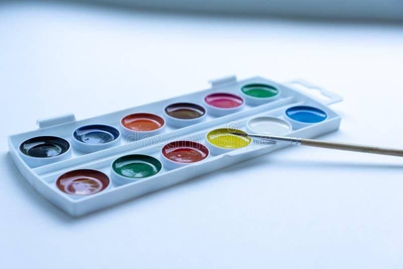Metta del giro ha modellato gli acquerelli variopinti in contenitore di plastica bianco di tavolozza con la spazzola minuscola su immagine stock libera da diritti