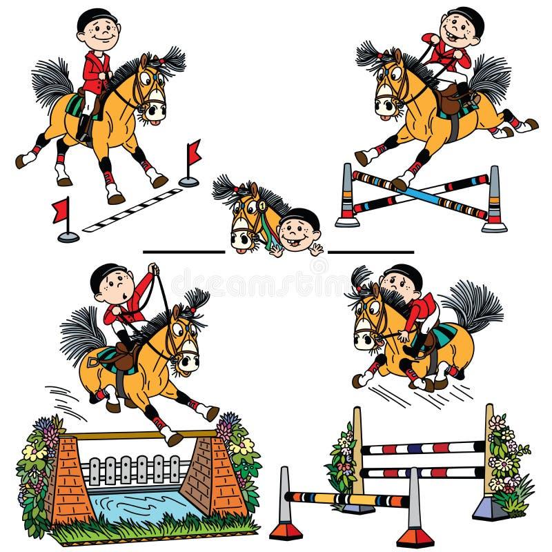 Metta del jumpng del cavallo del fumetto royalty illustrazione gratis