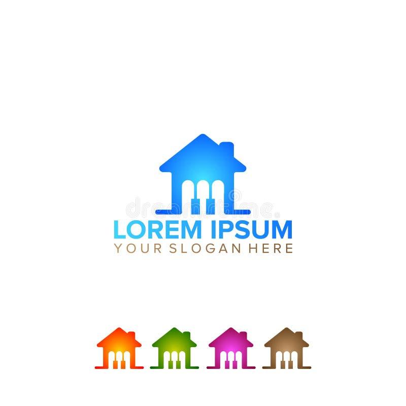 Metta del logo di musica e della casa colorato illustrazione vettoriale