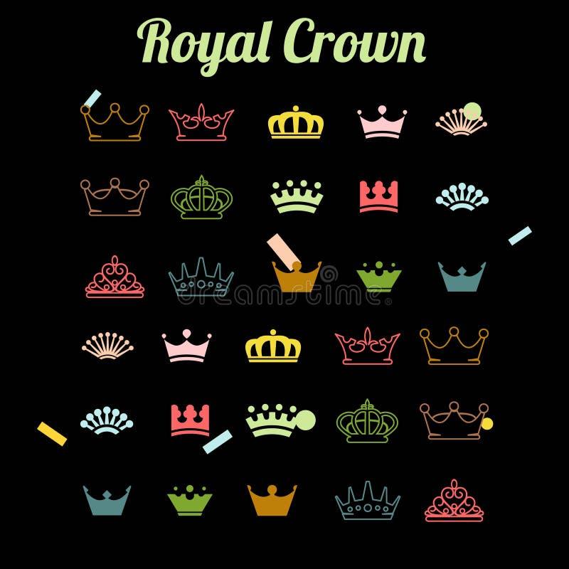 Metta del logo reale della corona illustrazione di stock
