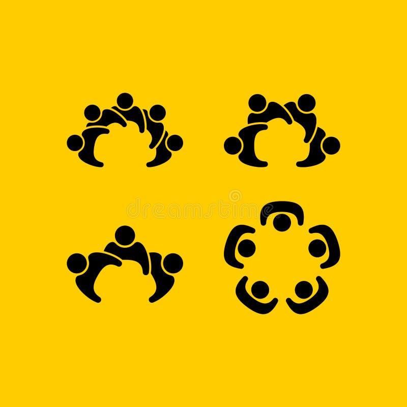 Metta del logos che descrive l'unità, la comunità, l'aiuto ed il supporto illustrazione vettoriale