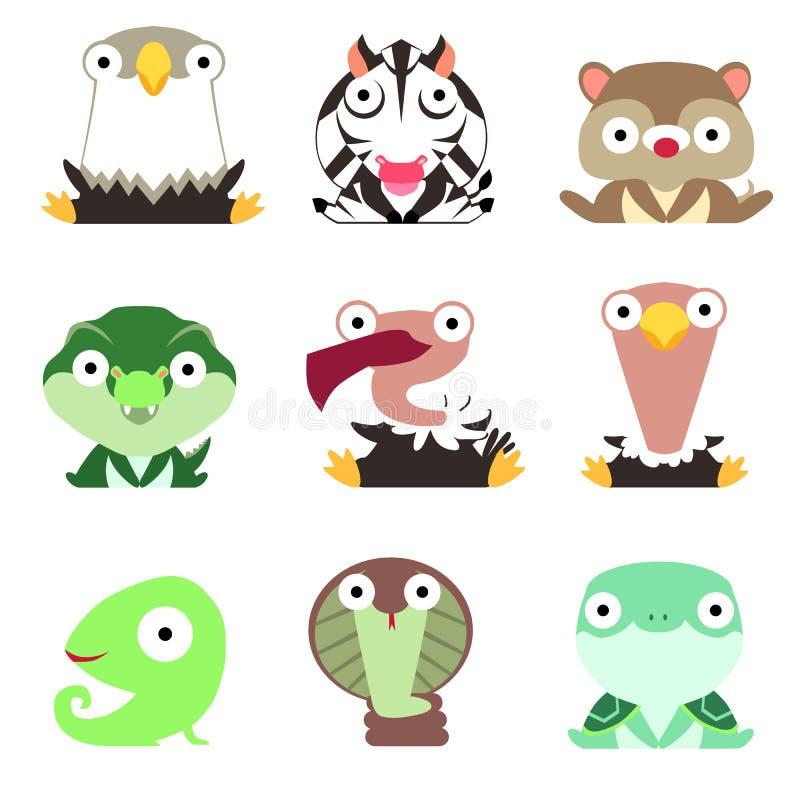 Metta del logos con gli animali Eagle, zebra, erpeste, coccodrillo, avvoltoio, struzzo, camaleonte, cobra e tartaruga isolati su  illustrazione vettoriale