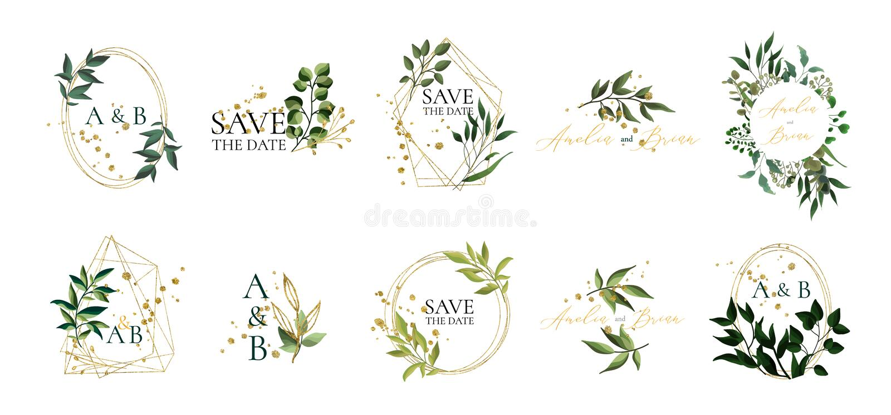 Metta del logos e del monogramma floreali di nozze con le foglie verdi eleganti royalty illustrazione gratis