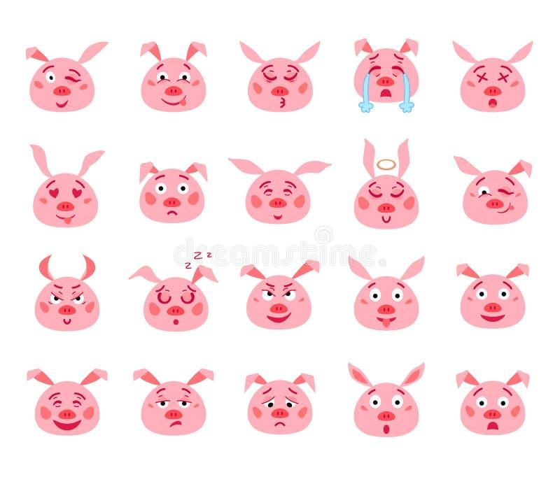 Metta del maiale rosa emozionale del fumetto Vettore illustrazione vettoriale