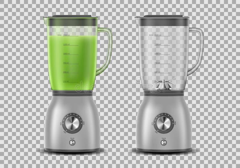 Metta del miscelatore realistico degli spremiagrumi Il miscelatore della cucina con succo di verdura verde organico e vuoto, misc illustrazione di stock