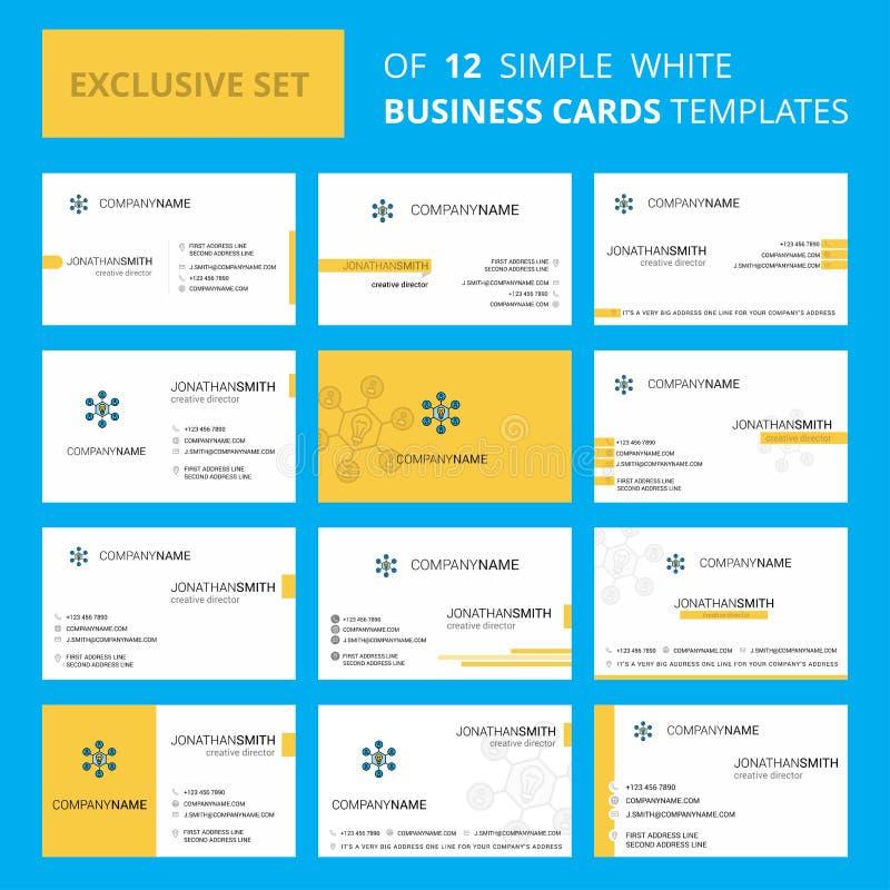 Metta del modello creativo della carta di Busienss di idea di 12 parti Fondo del biglietto da visita e di logo creativo editabile illustrazione di stock