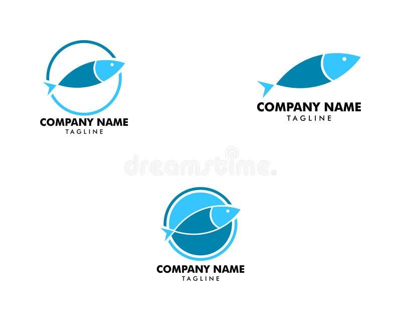 Metta del modello di vettore di progettazione dell'estratto di logo del pesce, icona di concetto del Logotype del ristorante del  illustrazione vettoriale