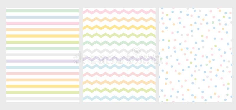 Metta del modello geometrico multicolore astratto di vettore 3 Arte di colore dell'arcobaleno con le linee, lo zigzag ed i punti illustrazione di stock