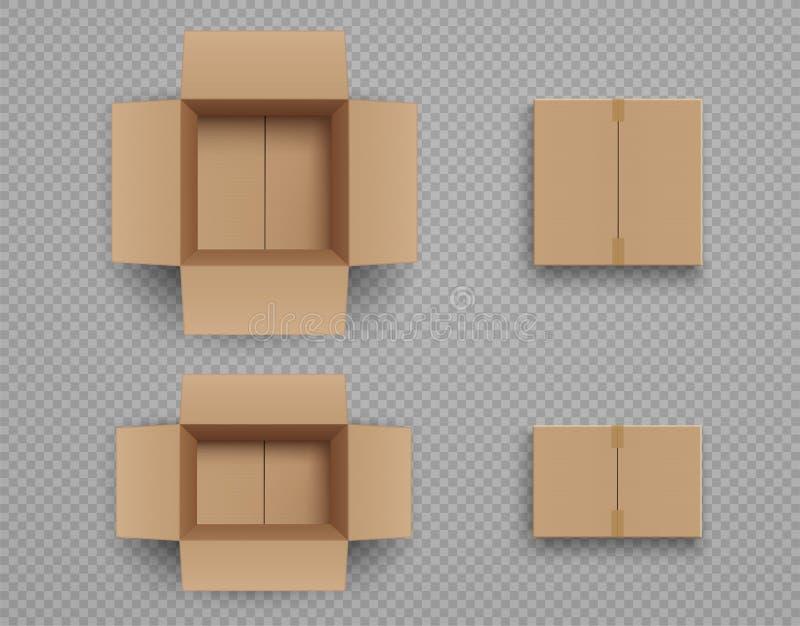 Metta del modello scatole di cartone chiuse ed aperte royalty illustrazione gratis