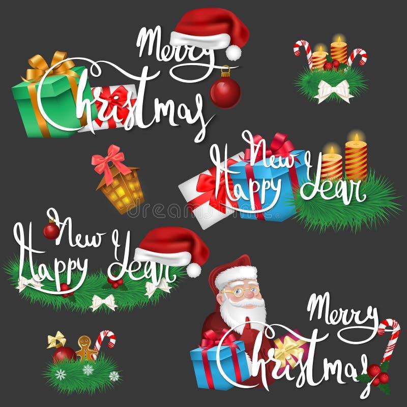 Metta del Natale ed icone e desideri del nuovo anno illustrazione vettoriale