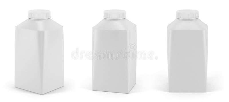 Metta del pacchetto bianco in bianco del latte o del yogurt con il coperchio immagini stock libere da diritti