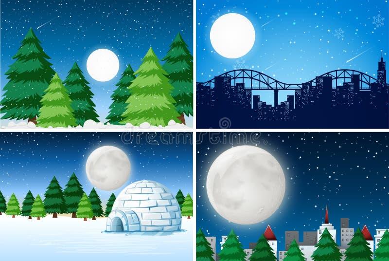 Metta del paesaggio all'aperto dell'inverno royalty illustrazione gratis