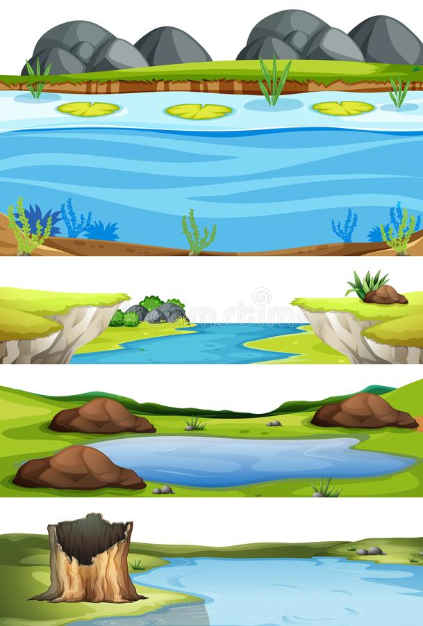 Metta del paesaggio dell'acqua illustrazione di stock