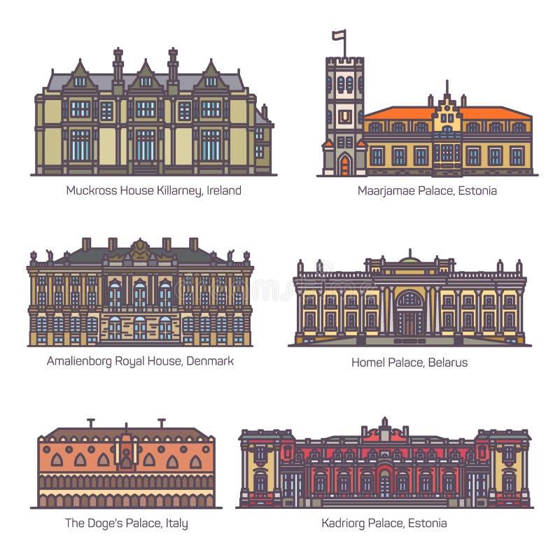 Metta del palazzo reale, sede del parlamento di Europa illustrazione vettoriale