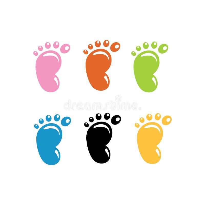 Metta del piede e dei bambini colorati illustrazione vettoriale