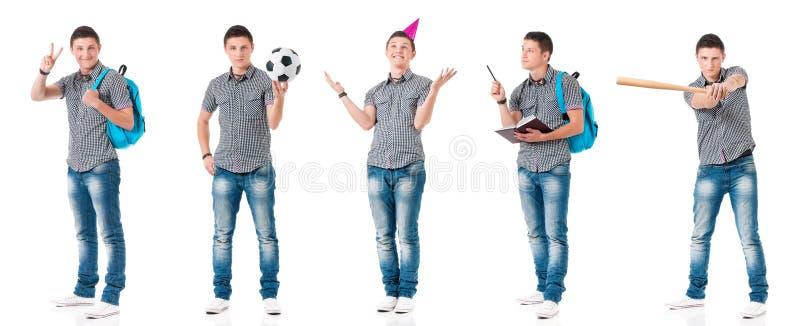 Metta del ragazzo teenager su bianco immagini stock libere da diritti