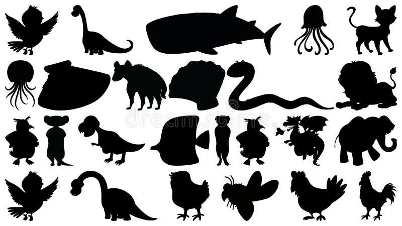 Metta del sihouette ha isolato il tema degli oggetti - animali illustrazione di stock