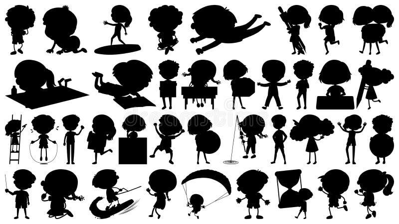 Metta del sihouette ha isolato il tema degli oggetti - bambini nelle azioni illustrazione vettoriale